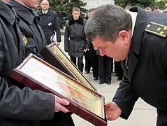 A prayer service for peace in the Ukraine performed at Nakhimov Naval Academy