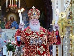 Святейший Патриарх возглавил пасхальное богослужение в храме Христа Спасителя