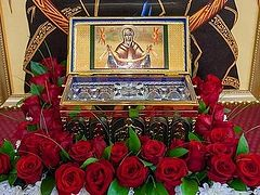 Reliquary with a portion of the Girdle of Holy Theotokos brought to Kazakhstan