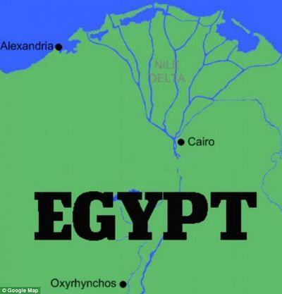 La ubicación de Oxyrhynchus en Egipto.