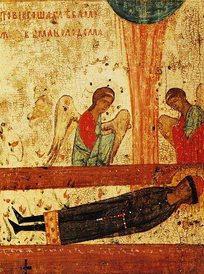 Тело Глеба, брошенное в степи между двумя колодами, огненный столп над ним и поклоняющиеся ангелы. Клеймо иконы из Борисоглебской церкви в Запрудах в Коломне. Конец XIV века
