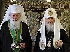 Primates of the Russian and Bulgarian Orthodox Churches celebrate at the Church of Christ the Saviour on the Commemoration Day of Ss Cyril and Methodius