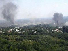 Mortar shell hits a church building in Sloviansk