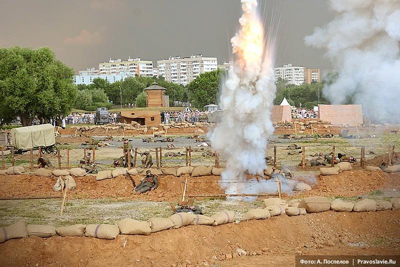Бомбардировка немецких позиций русской артиллерией