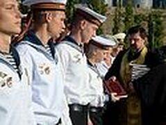 На борту ракетного крейсера «Москва» отслужен молебен