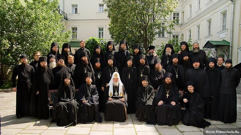 Святейший Патриарх Кирилл с братией монастыря
