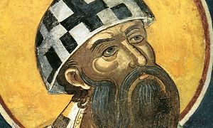 St. Cyril of Alexandria in an ancient Alexandrian mitre.