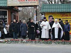 Панихида о пострадавших от обстрелов прошла в Донецке