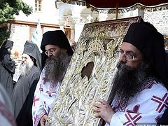 "Procession on Mt. Athos with the icon of the Mother of God ""It is Truly Meet"""