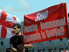 "A prayer rally and a protest action held in Tbilisi on ""the day of struggle against homophobia"""