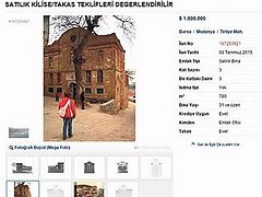 Historic church in Bursa province put on sale online