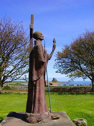 A statue of St. Aidan on Lindesfarne.