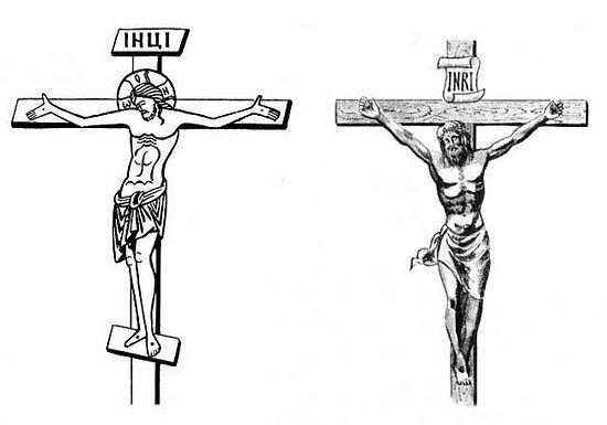 Фото Азбука.ру Традиционные православный и католический тип изображения Распятия Христова на Кресте