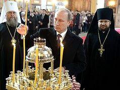 Владимир Путин подарил Свято-Успенскому собору в Астане икону Покрова Пресвятой Богородицы