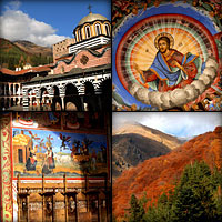 Autumn photo sketches of Rila Monastery