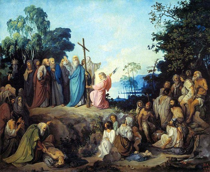 Апостол Андрей Первозванный водружает крест на горах Киевских. Картина Н. Ломтева
