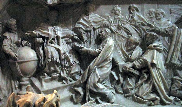 Instituting the Gregorian calendar. A bas relief on the grave of Pope Gregory XIII in St. Peter's Cathedral, Rome.