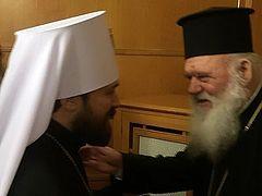 Metropolitan Hilarion meets with His Beatitude Archbishop Ieronymos of Athens