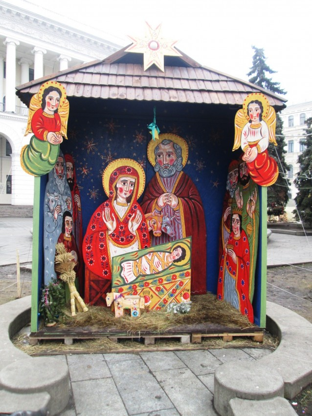 This manger scene was set up during the Maidan revolution in Kiev.
