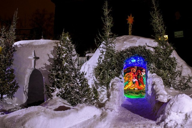 A purely Russian tradition and joy—a manger scene made of snow.