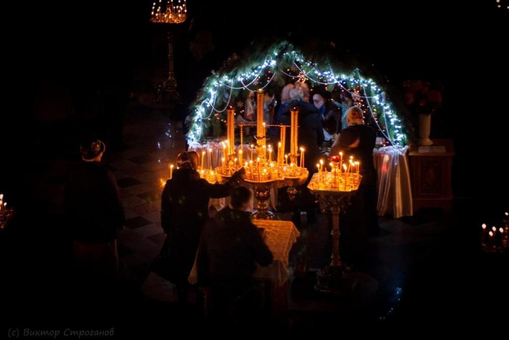 A manger scene by the Church of St. Nicholas in the Kamyskovaya Harbor, Sebastopol, Crimea.