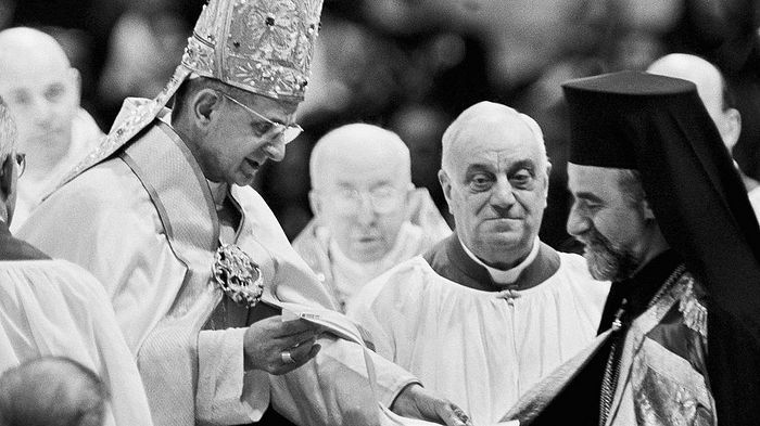 Папа Павел VI с митрополитом Гелиополисским Мелитоном