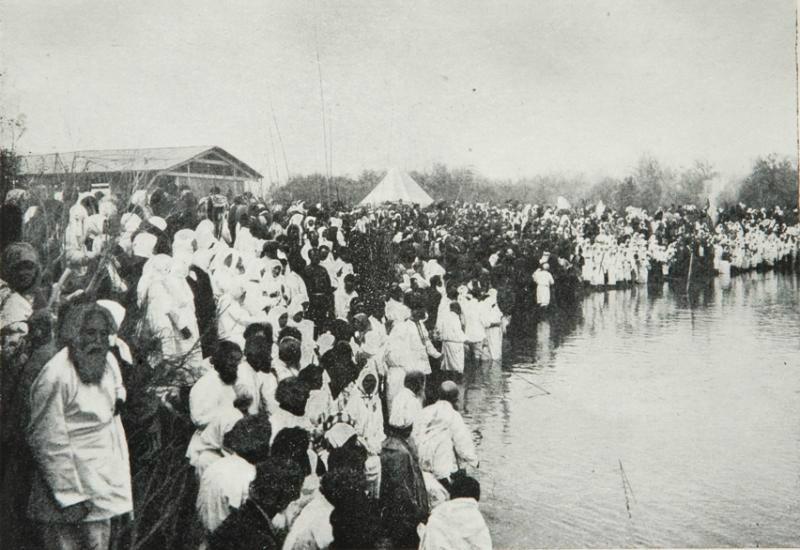 Russian pilgrims on the river Jordan, early 20th century.