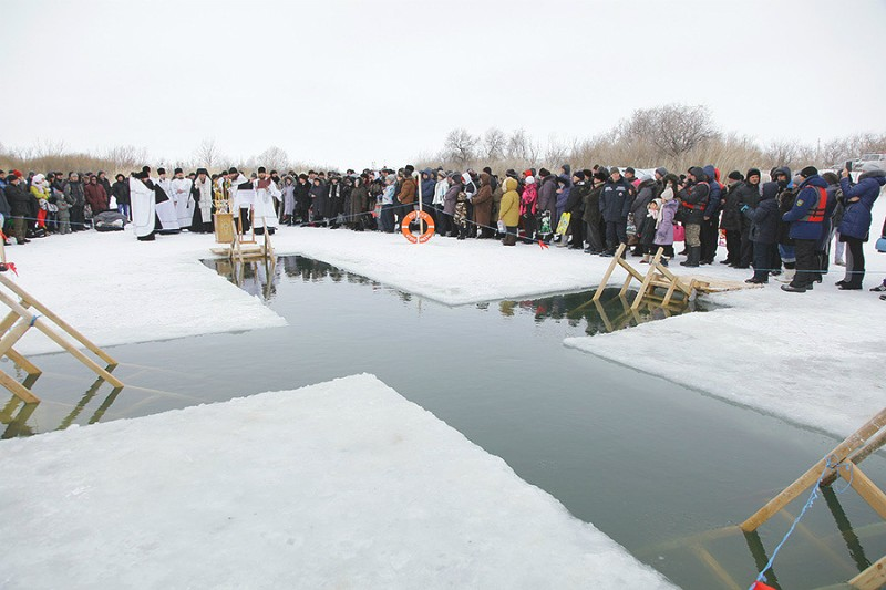 The Karaganda Diocese, an ice hole for the Blessing of the Waters on Lake Jartas.