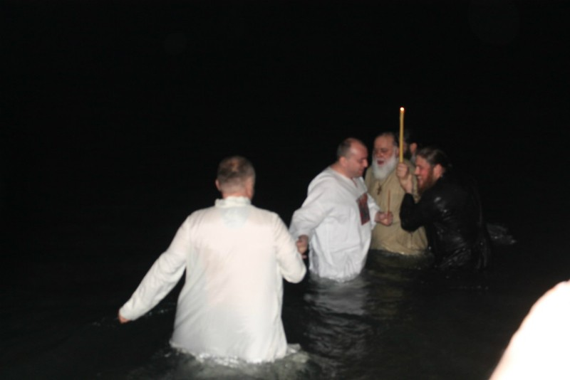 Batumi: Metropolitan Dimitry is immersing himself in the blessed waters.