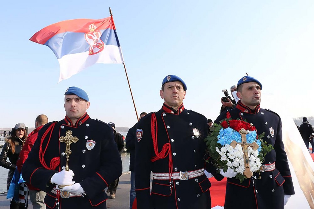 Serbian gendarmes with the victorious cross.