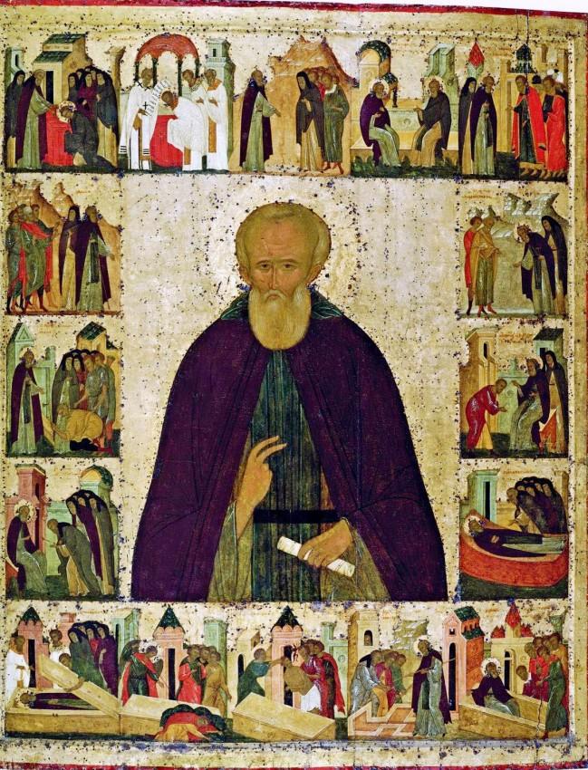 Икона преподобного Димитрия Прилуцкого с житийными клеймами