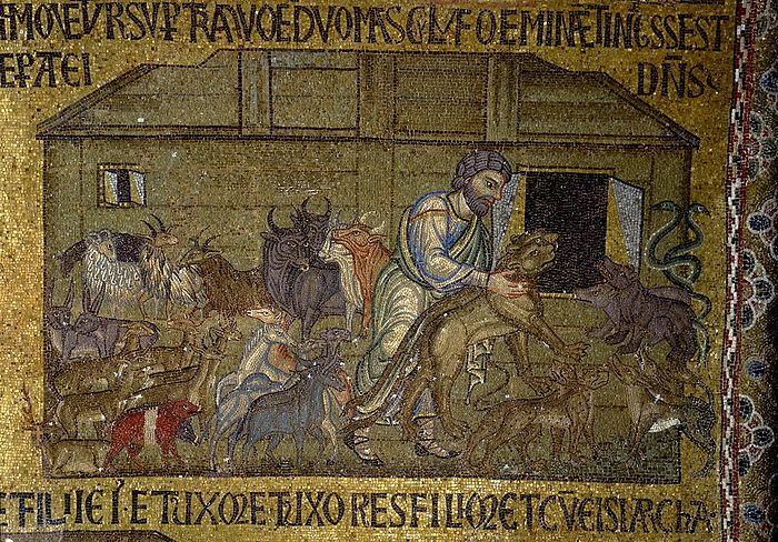 Ной впускает животных по паре в ковчег