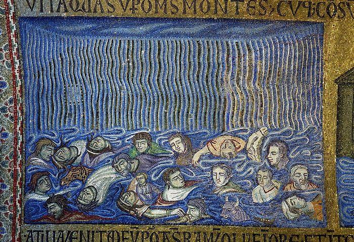 Смерть людей в водах потопа
