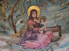 The most unusual fresco of Virgin Mary by famous Georgian artist Lado Gudiashvili