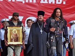 Russian bikers deliver icons to churches of the Moscow Patriarchate in Africa