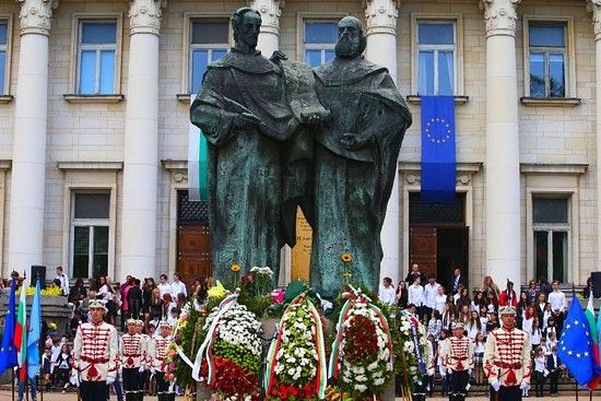 The monument of St. Cyril and St. Methodius before the National Library of the same name in Sofia during the May 24 celebrations. Photo: bTV News