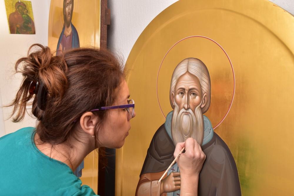 Работа над иконой преподобного Сергия Радонежского