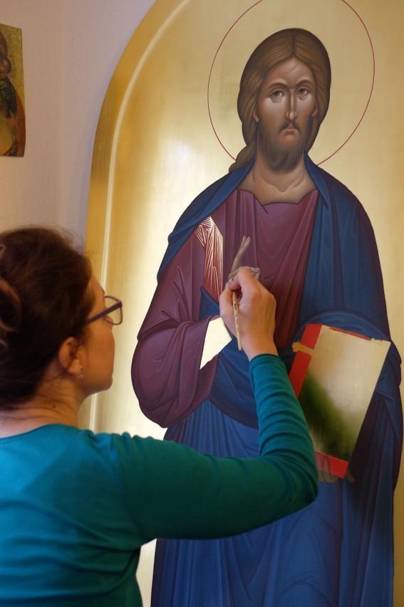 Работа над иконой Господа Вседержителя