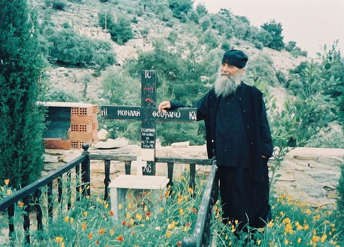 Elder Ephraim at the grave of his mother