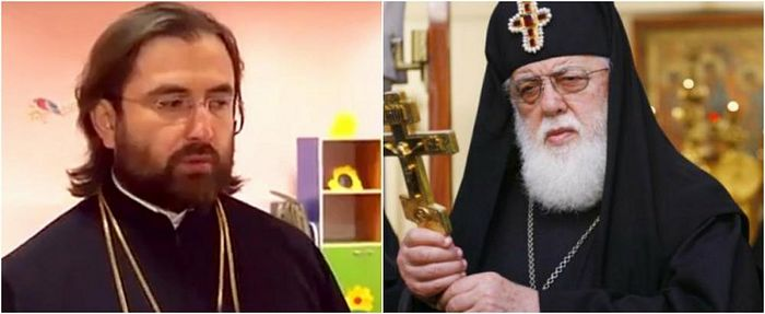 Left - Archpriest George Mamaladze, right - His Holiness Patriarch-Catholics Ilia II. Photo: Regioninfo.ge