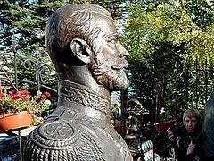Myrhh-streaming bust of Tsar Nicholas II in Simferopol