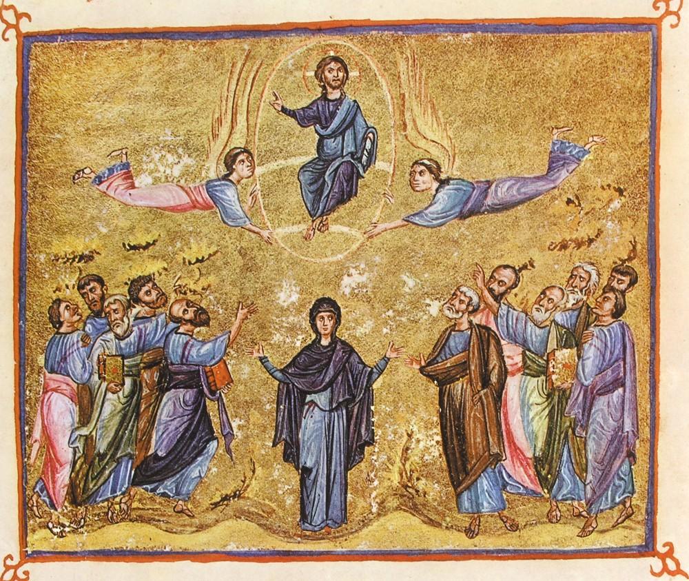 Вознесение Господне. Миниатюра. XI в. Монастырь Дионисиат, Афон