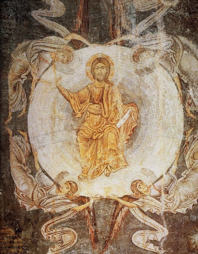 Вознесение Господне. Фреска. XI в. Византия