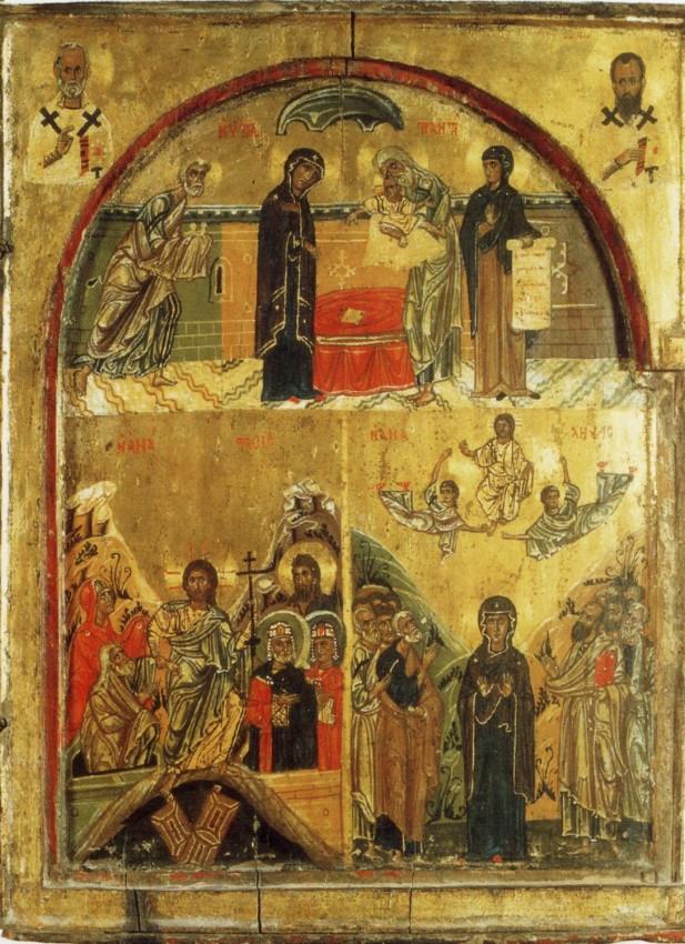 Сретение, Воскресение Христово, Вознесение. Икона. XII в. Монастырь святой Екатерины на Синае