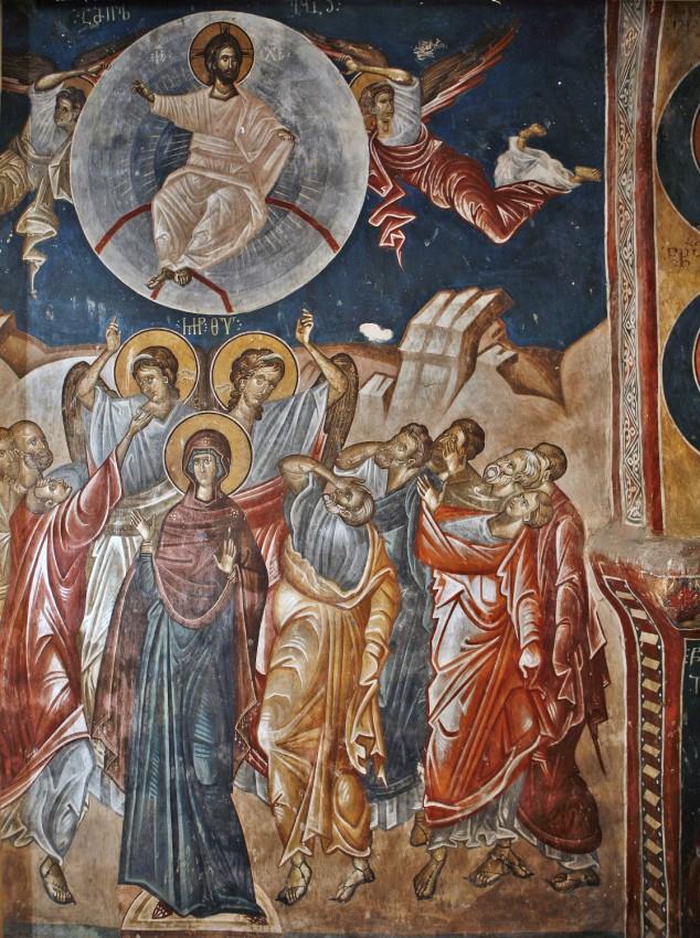 Вознесение Господне. Фреска. XIV в. Церковь св. Георгия, Убиси, Грузия