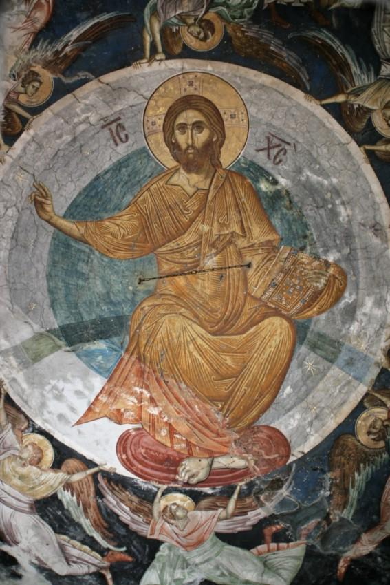 Вознесение Господне. Фрагмент. Фреска. XIV в.