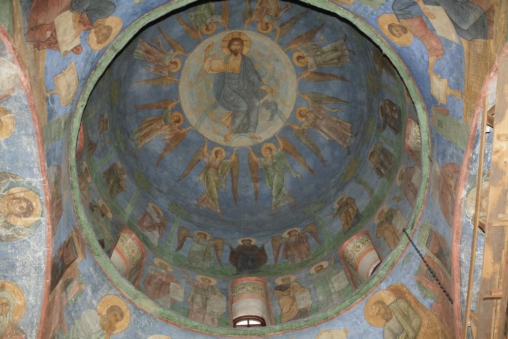Вознесение Господне. Фреска. XII в. Спасо-Преображенский Мирожский монастырь, Псков