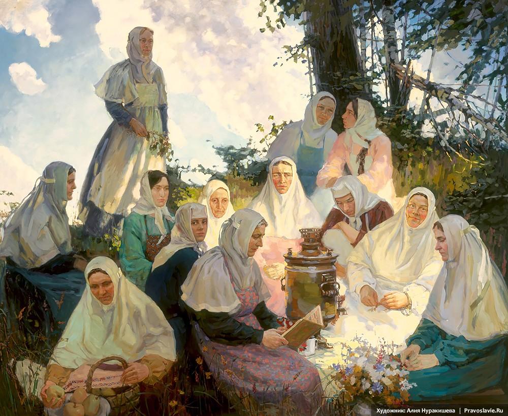 Αδελφές της Ιεράς Μονής Πιούχτιτσα στο λιβάδι