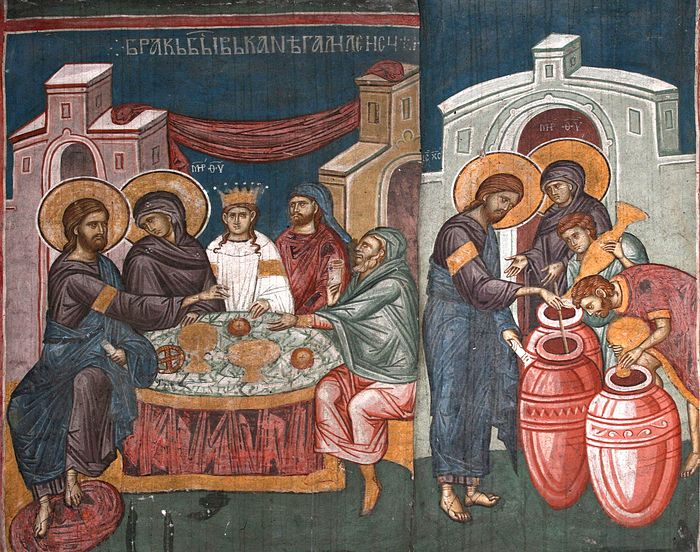 The miracle at the wedding in Cana.