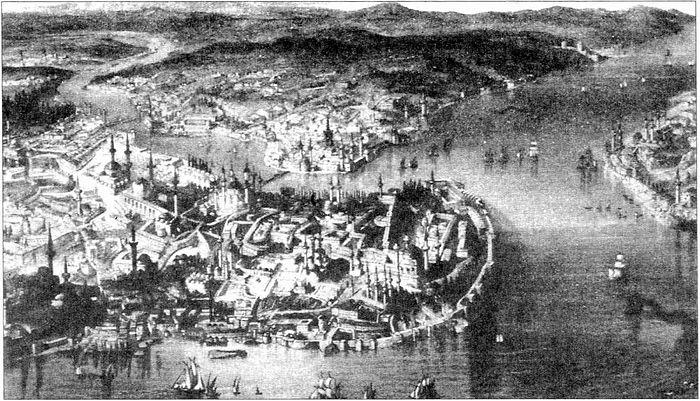 Вид на Босфор и Константинополь со стороны Мраморного моря